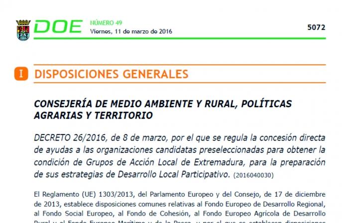 Publicado el Decreto de ayuda a los GALs de Extremadura para preparación de las estrategias DLP title=