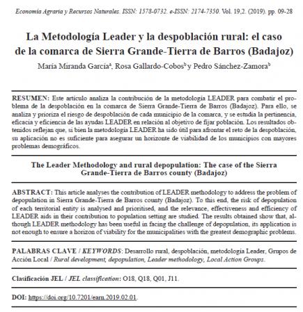 La Metodología Leader y la despoblación rural: el caso de la comarca de Sierra Grande-Tierra de Barros (Badajoz) title=
